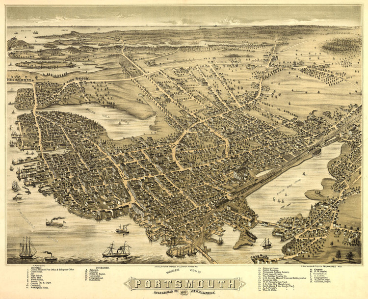 Historic Map - Portsmouth, NH - 1877