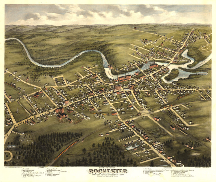 Historic Map - Rochester, NH - 1877