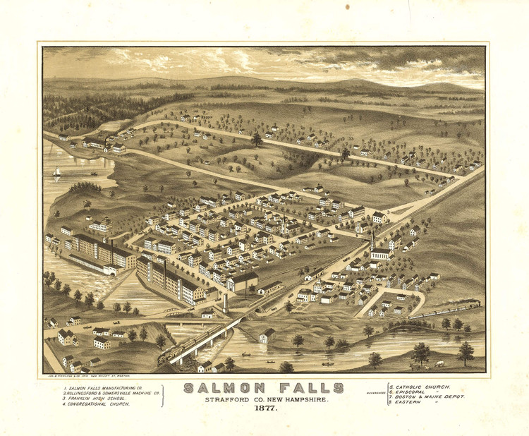 Historic Map - Salmon Falls (Rollinsford), NH - 1877