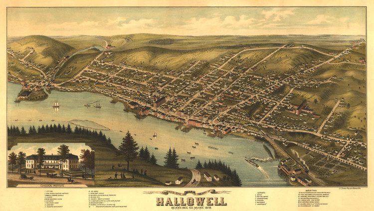 Historic Map - Hallowell, ME - 1878