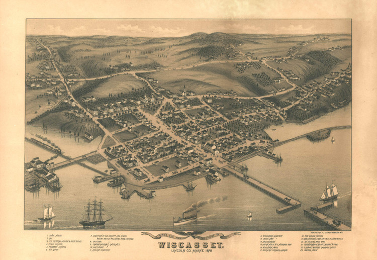 Historic Map - Wiscasset, ME - 1878