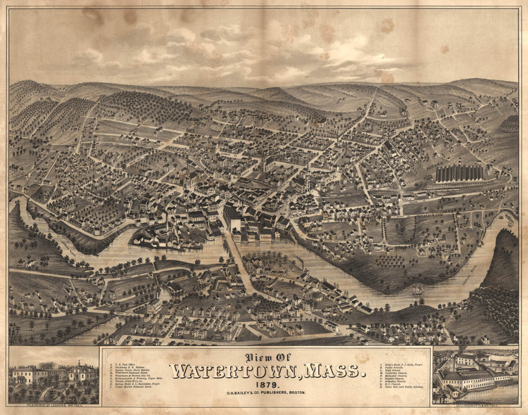 Historic Map - Watertown, MA - 1879