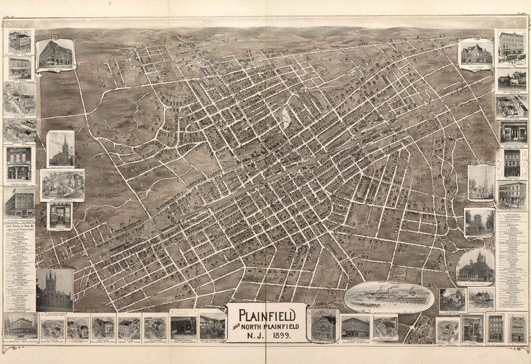 Historic Map - Plainfield & North Plainfield, NJ - 1899
