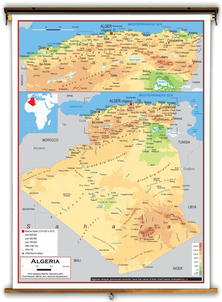 Algeria Physical Educational Map from Academia Maps