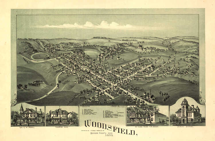 Historic Map - Woodsfield, OH - 1899