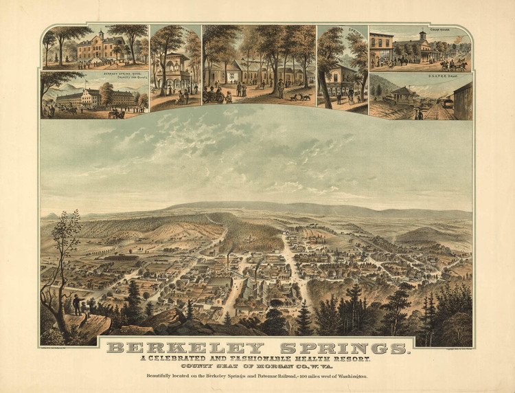 Historic Map - Berkeley Springs (Bath), WV - 1889