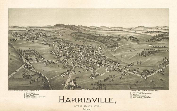 Historic Map - Harrisville, WV - 1899