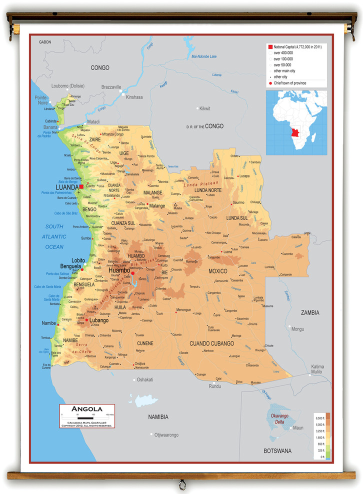 Angola Physical Educational Map from Academia Maps