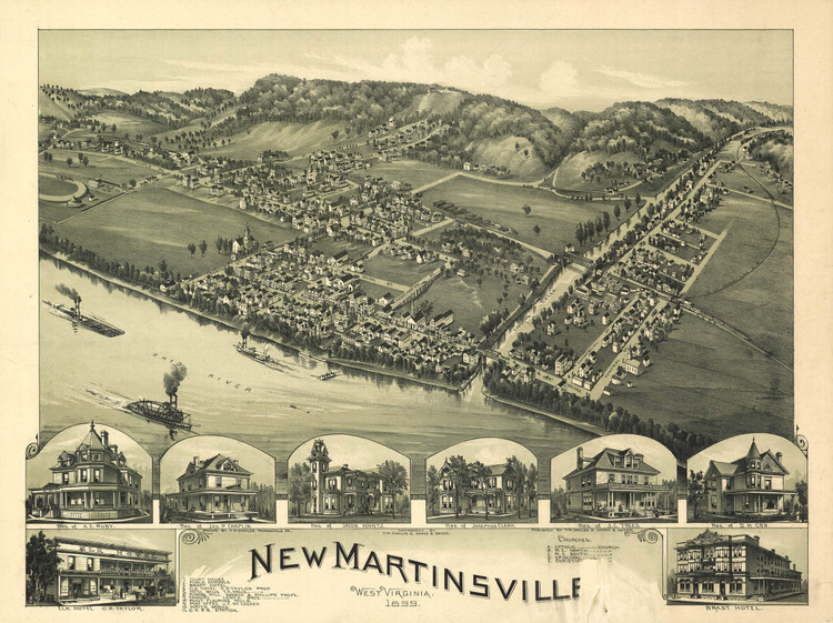 Historic Map - New Martinsville, WV - 1899