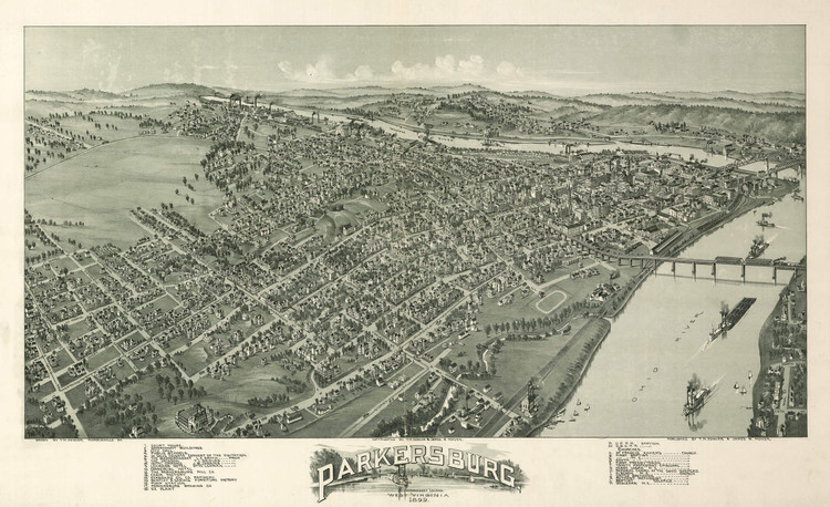 Historic Map - Parkersburg, WV - 1899