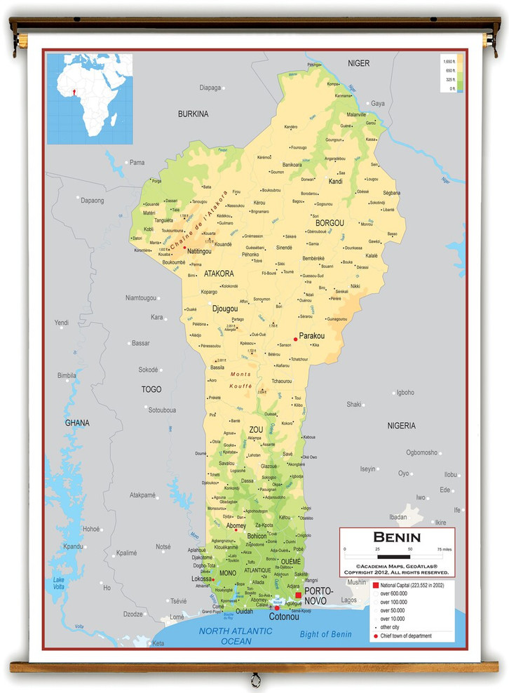 Benin Physical Educational Map from Academia Maps