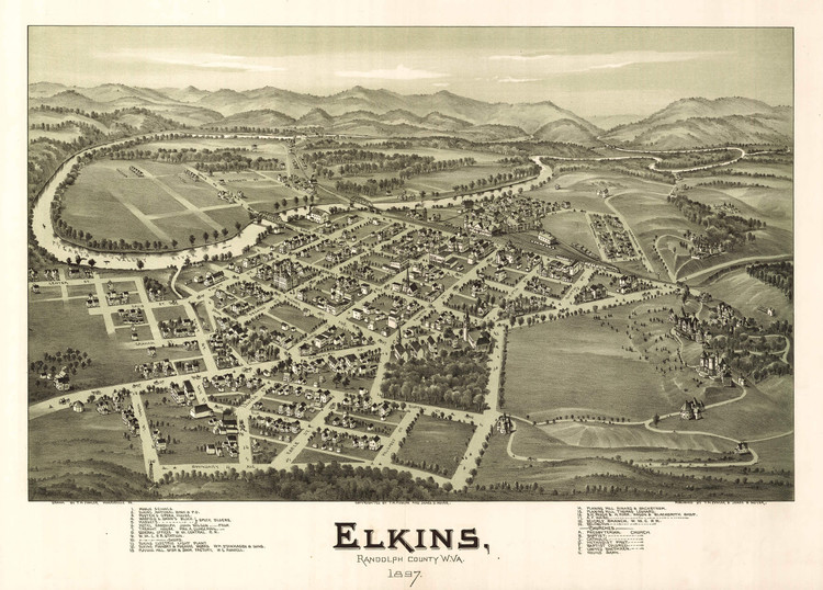 Historic Map - Elkins, WV - 1897