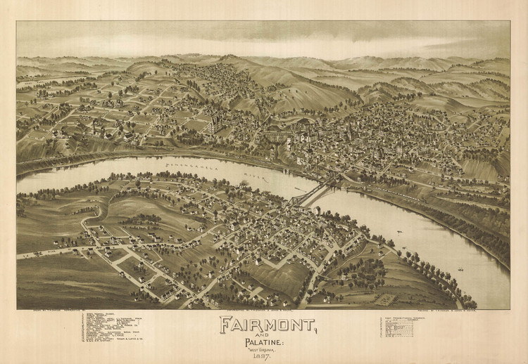 Historic Map - Fairmont & Palatine, WV - 1897