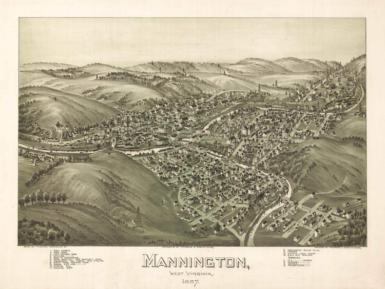 Historic Map - Mannington, WV - 1897