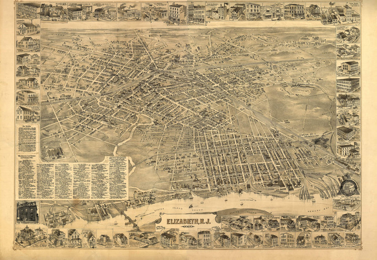 Historic Map - Elizabeth, NJ - 1898