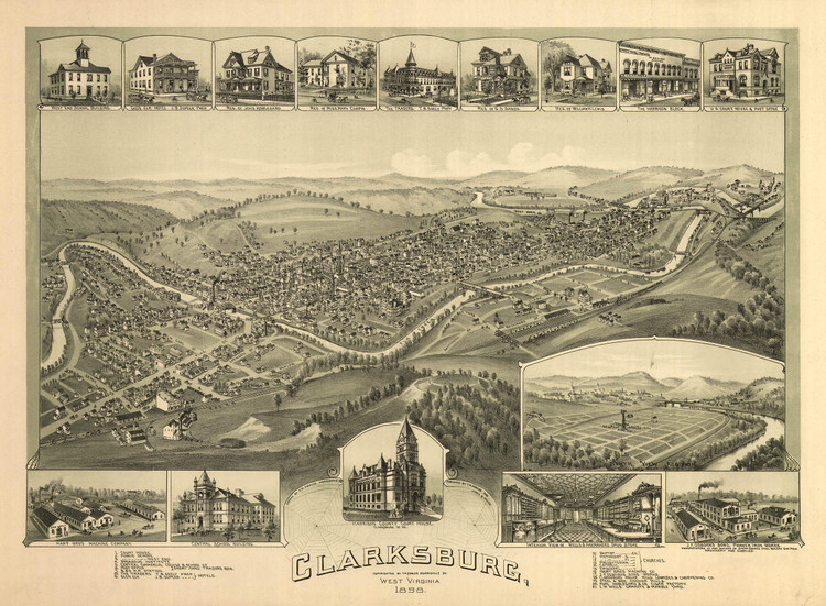 Historic Map - Clarksburg, WV - 1898