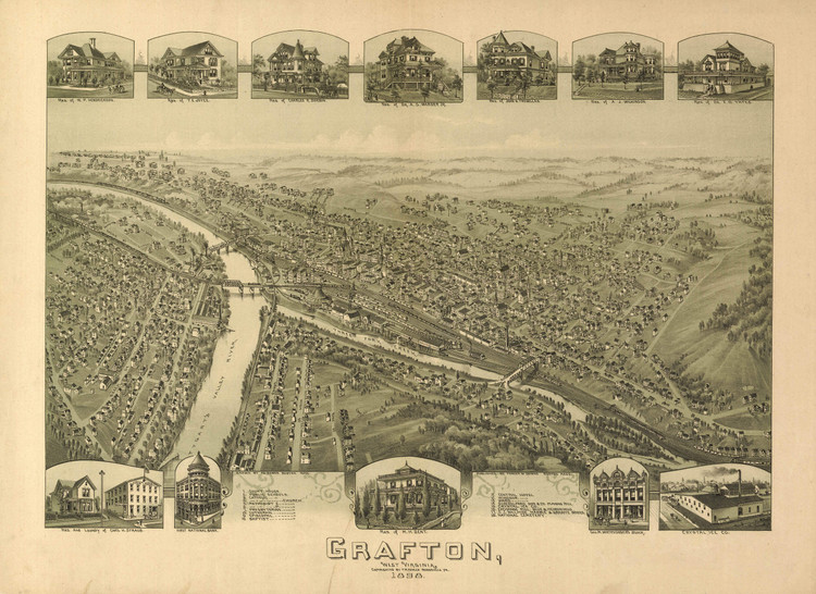 Historic Map - Grafton, WV - 1898