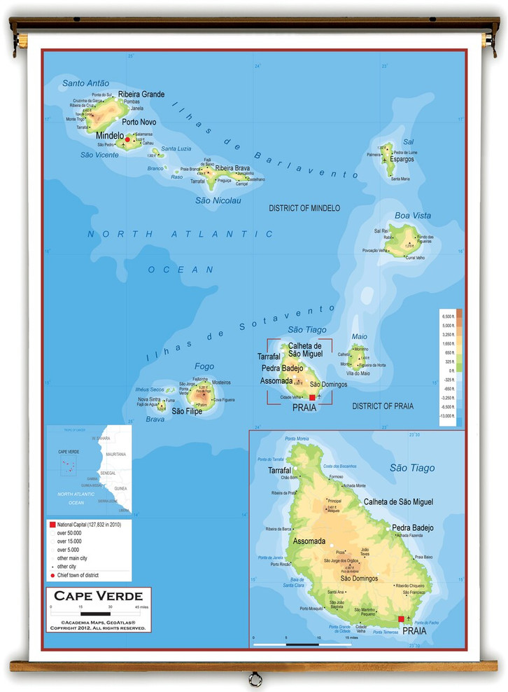 Cape Verde Physical Educational Map from Academia Maps
