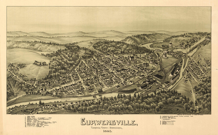 Historic Map - Curwensville, PA - 1895