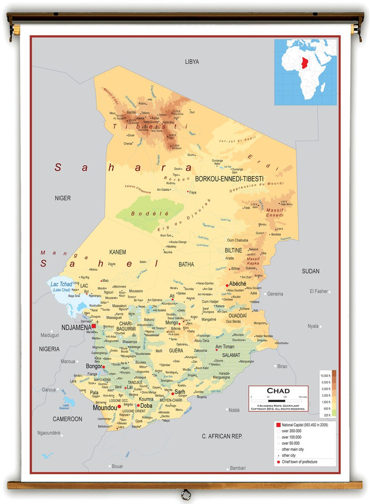 Chad Physical Educational Map from Academia Maps