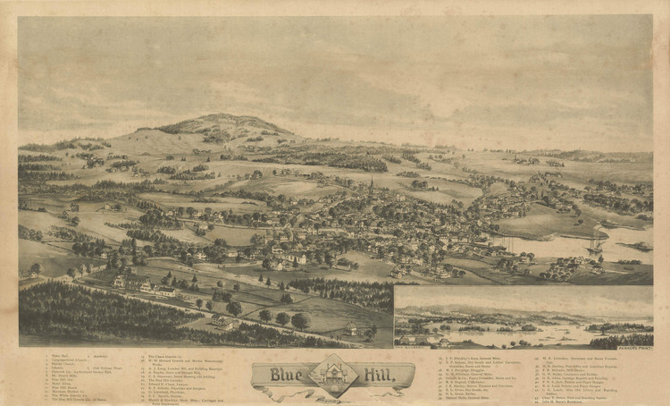 Historic Map - Blue Hill, ME - 1896