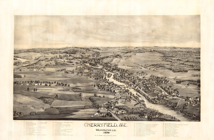 Historic Map - Cherryfield, ME - 1896
