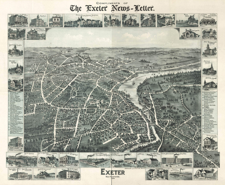 Historic Map - Exeter, NH - 1896