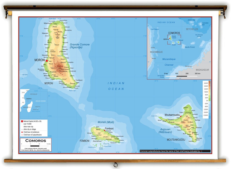 Comoros Physical Educational Map from Academia Maps