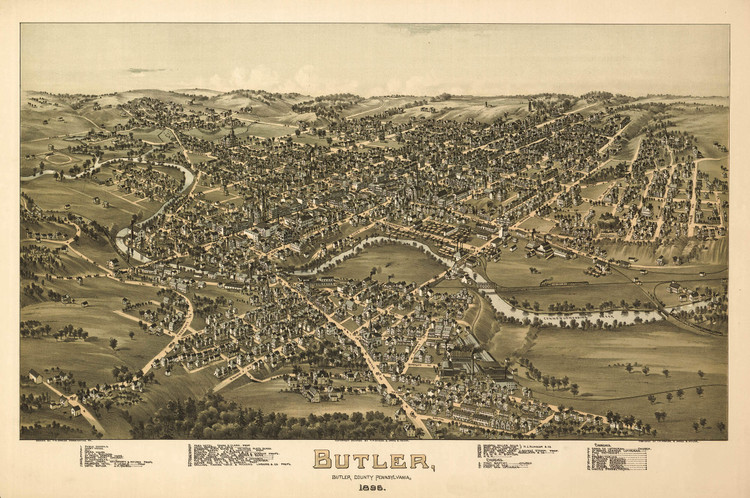 Historic Map - Butler, PA - 1896