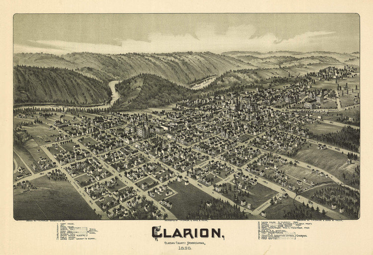 Historic Map - Clarion, PA - 1896