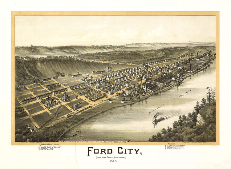 Historic Map - Ford City, PA - 1896