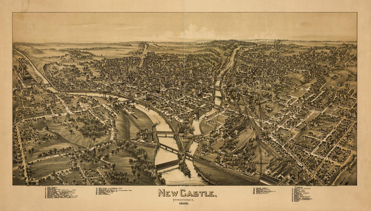 Historic Map - New Castle, PA - 1896