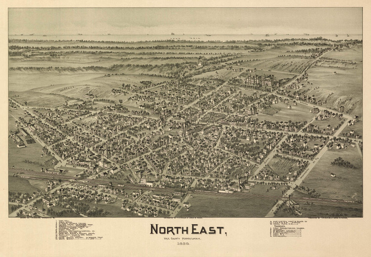 Historic Map - North East, PA - 1896