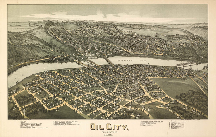 Historic Map - Oil City, PA - 1896