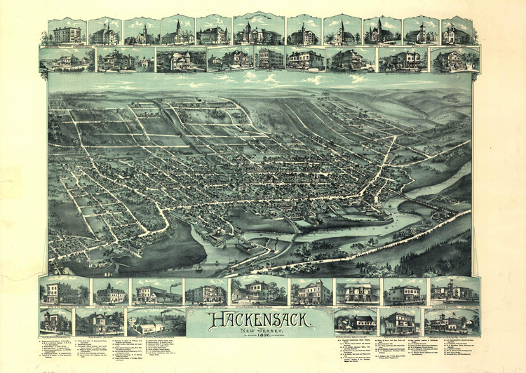Historic Map - Hackensack, NJ - 1896