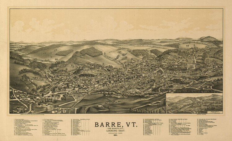 Historic Map Map - Barre, Vermont - 1891