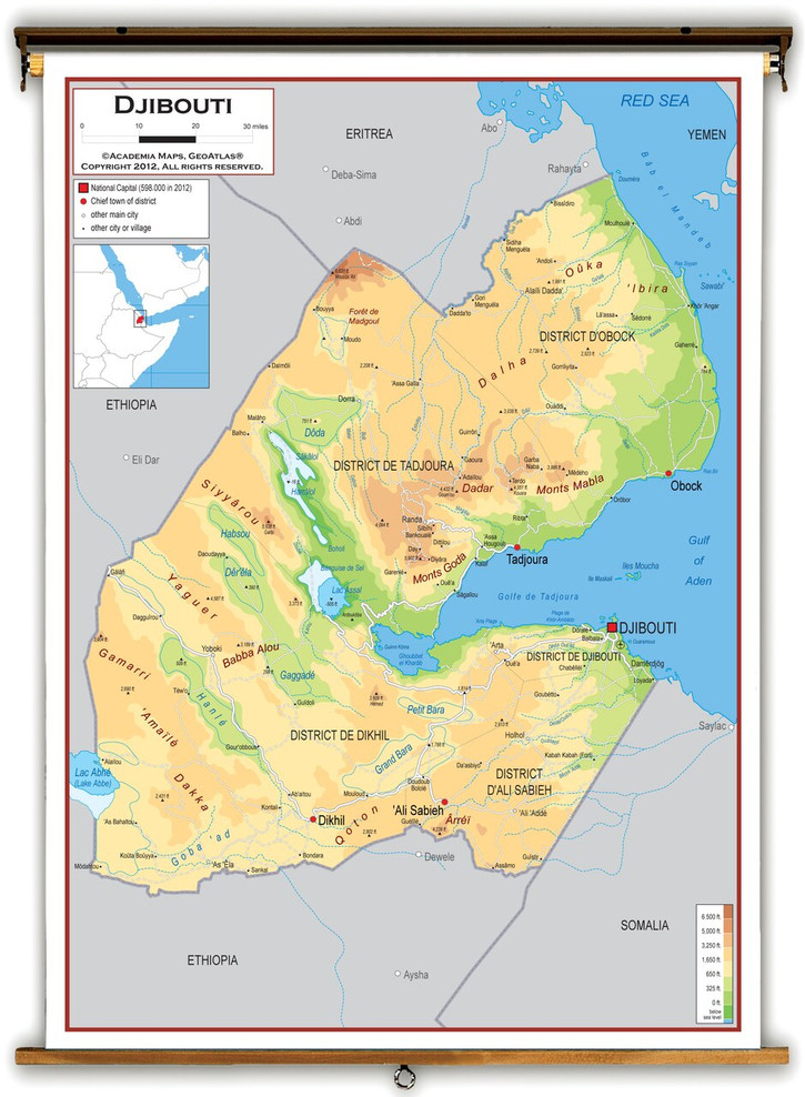 Djibouti Physical Educational Map from Academia Maps