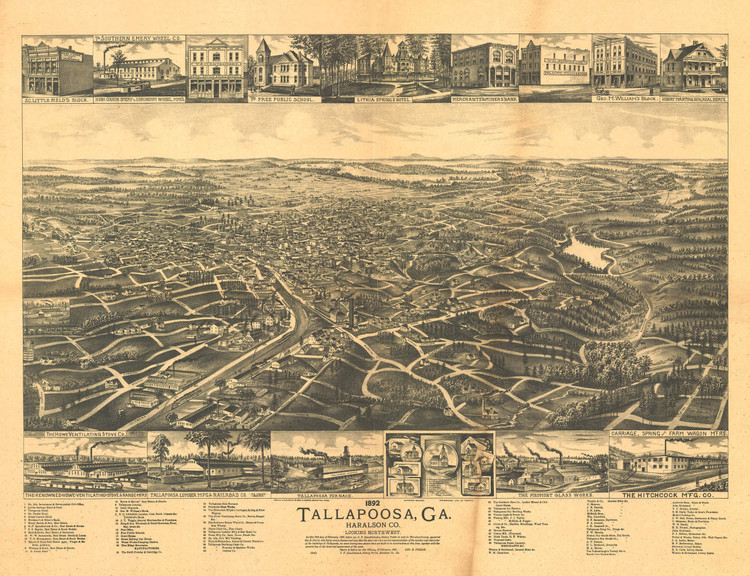 Historic Map - Tallapoosa, GA - 1892