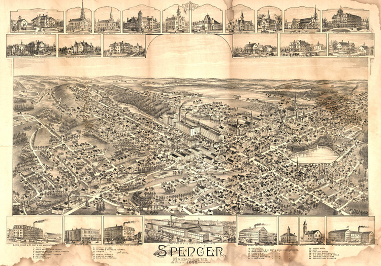 Historic Map - Spencer, MA - 1892