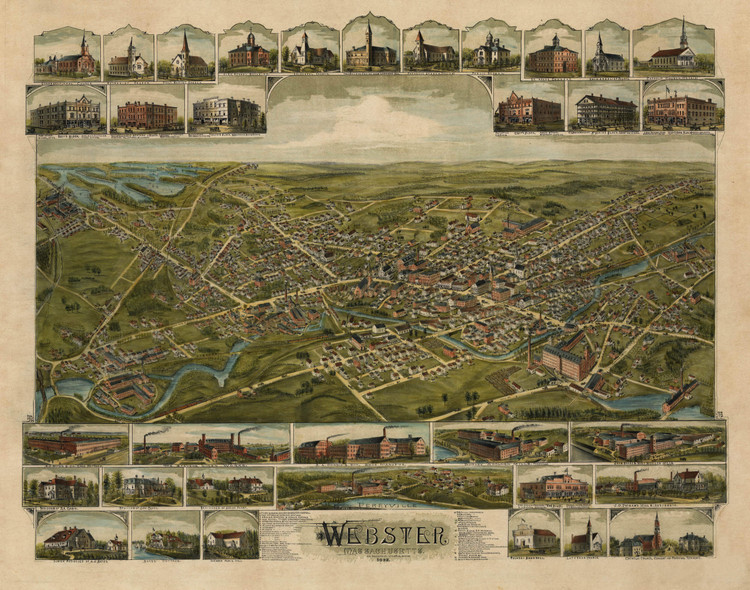 Historic Map - Webster, MA - 1892