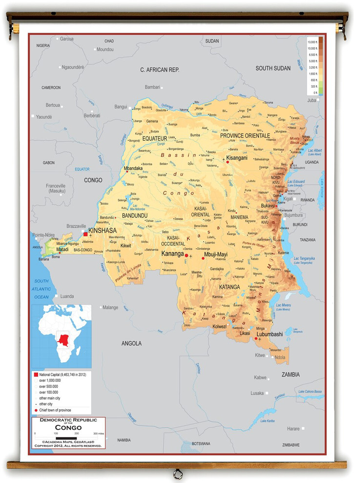 Democratic Republic of the Congo Physical Educational Map from Academia Maps