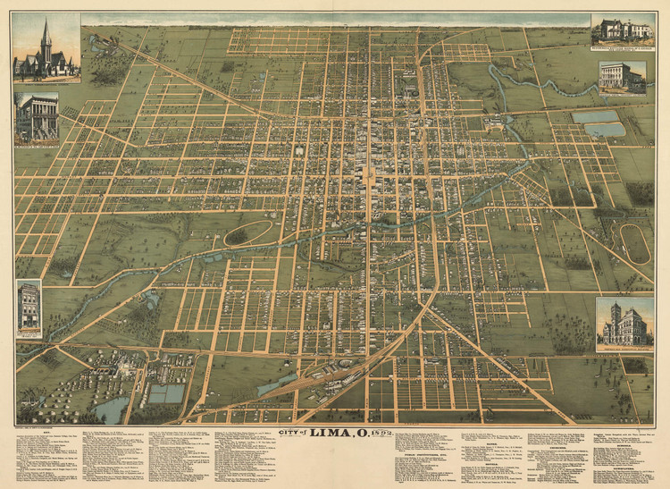 Historic Map - Lima, OH - 1892