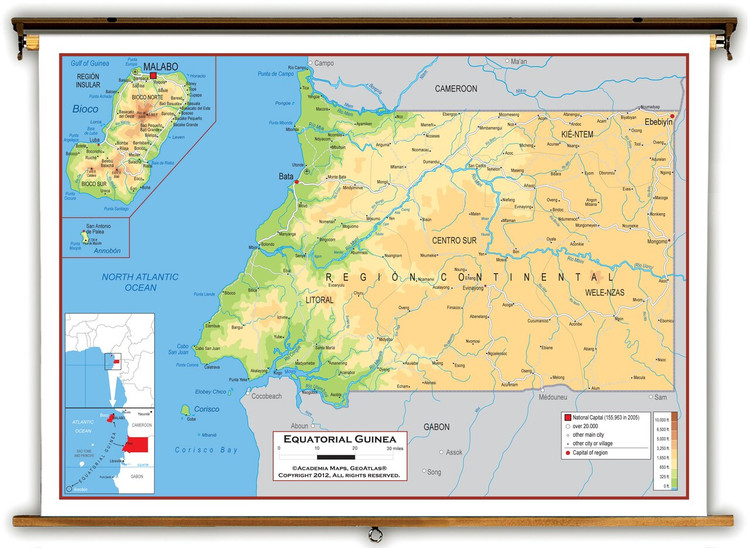 Equatorial Guinea Physical Educational Map from Academia Maps