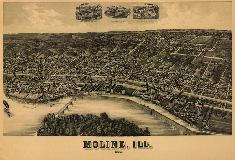 Historic Map - Moline, IL - 1889