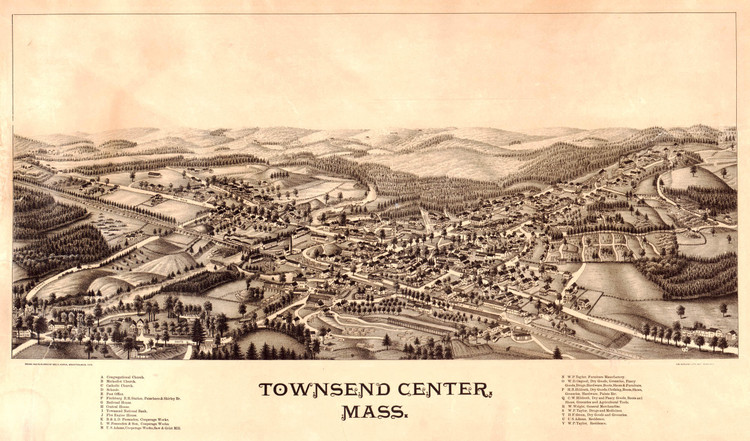 Historic Map - Townsend Center, MA - 1889