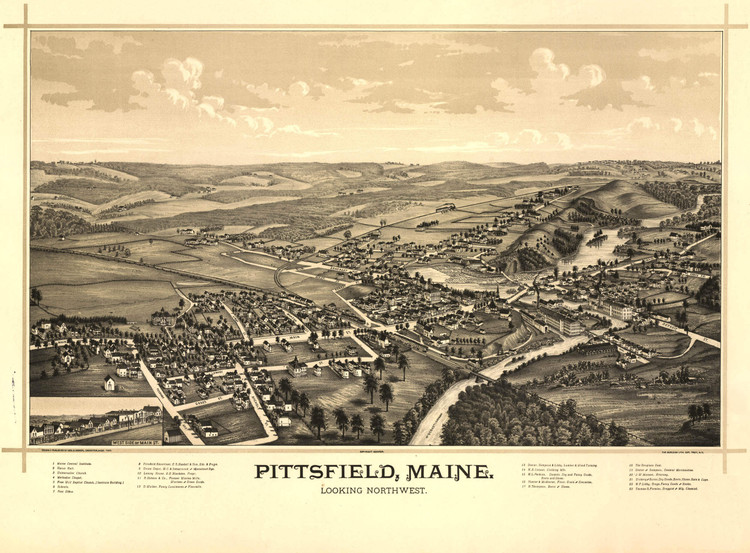 Historic Map - Pittsfield, ME - 1889