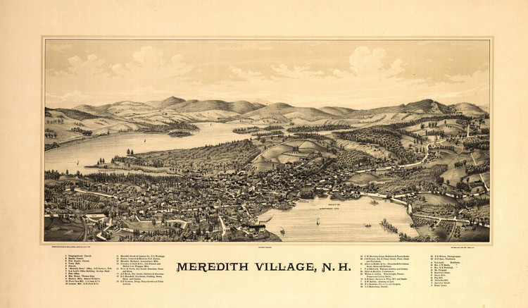 Historic Map - Meredith, NH - 1889