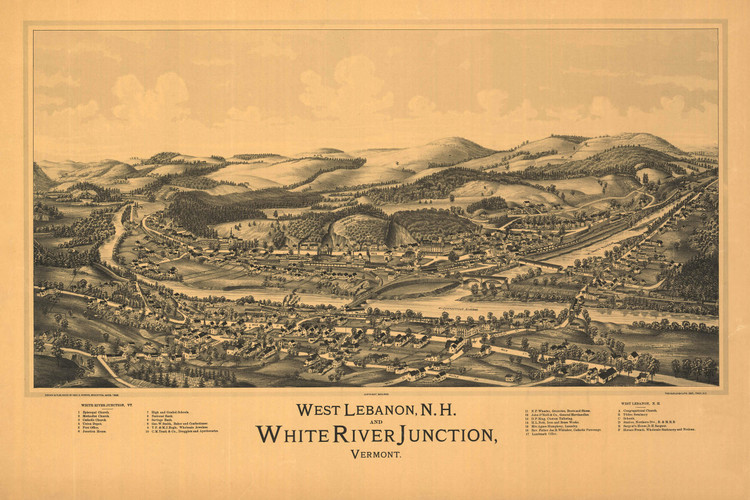 Historic Map - West Lebanon, NH - 1889