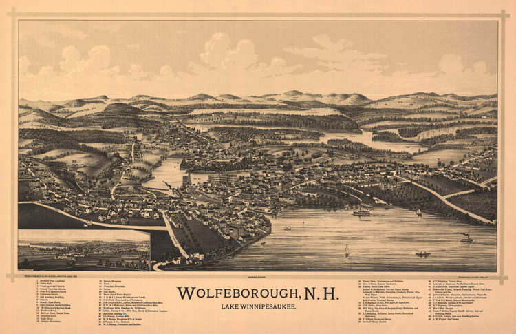 Historic Map - Wolfeborough, NH - 1889