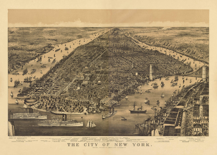Historic Map - New York City, NY - 1889